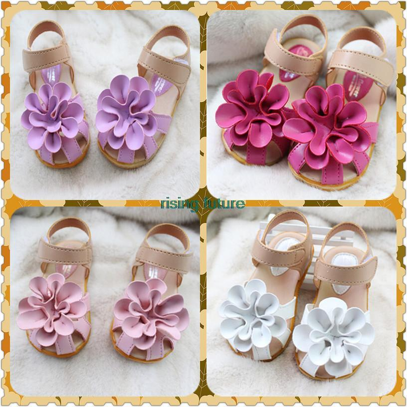 I58 Hot Sale Spring Flowers Kids Sandals Cute Girl Princess Flat Shoes Free Shipping 4 Colours