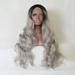 aa30ab6bfa822 ... white women. 45.99. null. Get Quotations · Heat Resistant Fiber Hair  body wave ombre black to gray color dark root Synthetic lace front