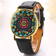 Fashion Charming Colorful Sunflower Face Geneva Leather Band Ladies Fancy Ladies Wrist Watch