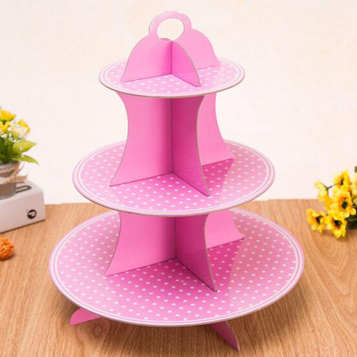 Pink paper 3 tier cupcake display plate for girl birthday party