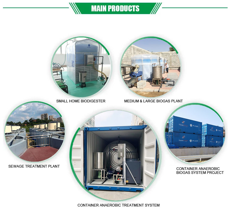 10m3 PUXIN concrete construction biogas digester plant with gas holder