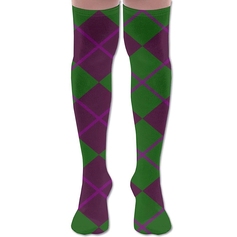 061c04fa40f Get Quotations · XYMNZGS Cute Diamonds Argyle Womens Socks Knee High Thigh High  Socks For Running Mens Socks