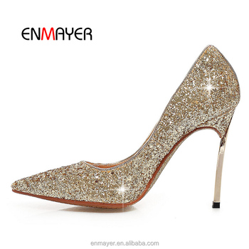 wholesale 10cm fancy ladies party frosted material pencil high heel women shoes