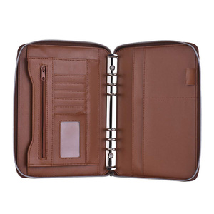 Custom Brown A5 Zip Faux Leather 6 Ring Binder