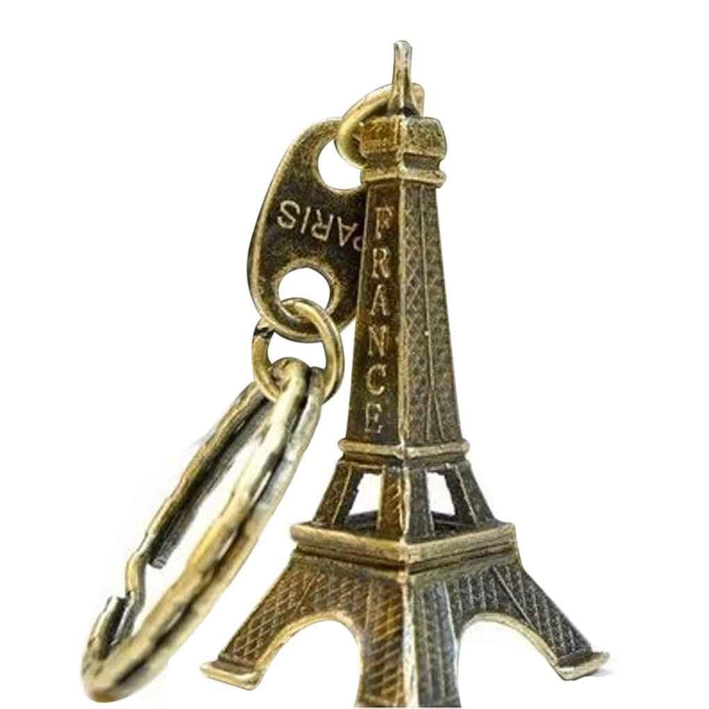 F-blue Retro Paris Eiffel Tower Model Keychain Keyring Metal Split Key Ring Tower Keychain
