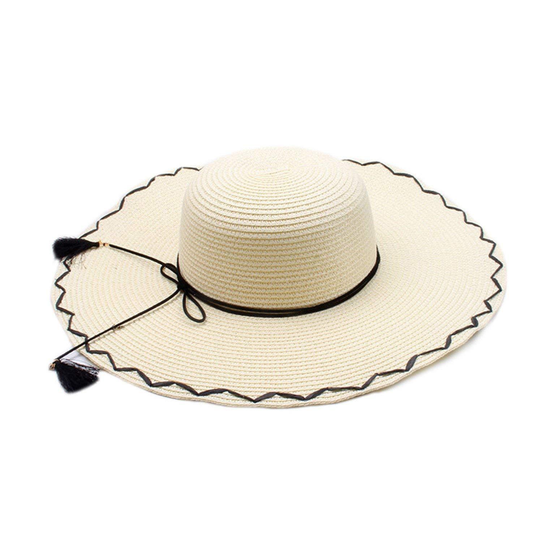 834e18e3f8880a Get Quotations · JIANGTAOLANG Seaside Visor Soild Sunhat With Tassel Women Wide  Brim Straw Hat