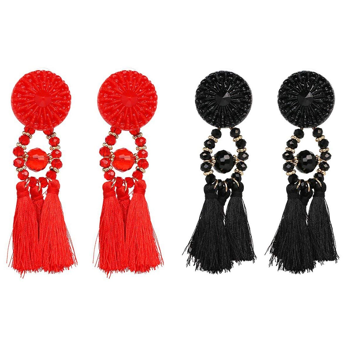 Bohemian Vintage Pierced Statement Thread Tassel Chandelier Drop Dangle Earrings Set, E15