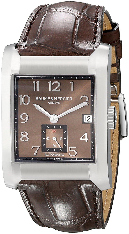 54625d98fba Get Quotations · Baume Mercier Men s 10028 Hampton Mens Brown Leather Strap  Automatic Watch