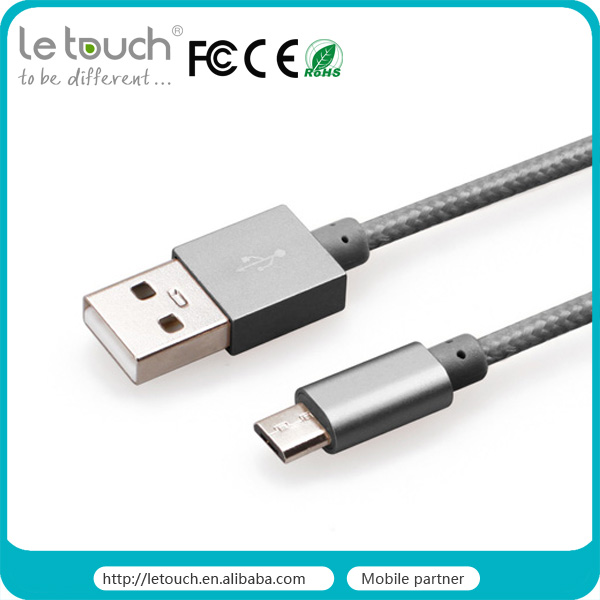mobile phone accessories wholesale metallic nylon durable fabric micro usb cable for samsung