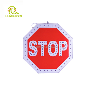 Aluminum 3M Reflective Film Road Safety Solar Powered Flashing Warning Stop Signal Traffic Sign