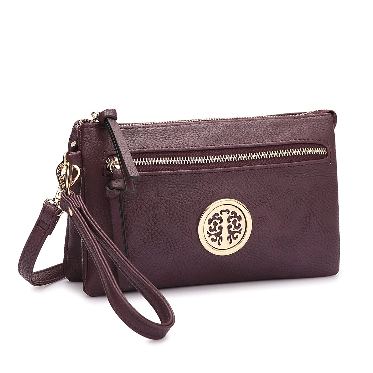 MMK Collection Fashion Crossbody Bag ~Messenger Purse~Crossbody Bag for Women~Designer Fashion Wristlet Wallet Multi Pocket Clutch Purse (MA-18-7217 Purple)