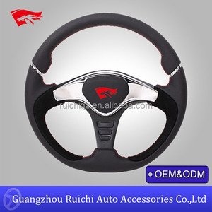 Black Leather Flat Dish Competition Steering Wheel Compatible with momo GTR2 steering wheel