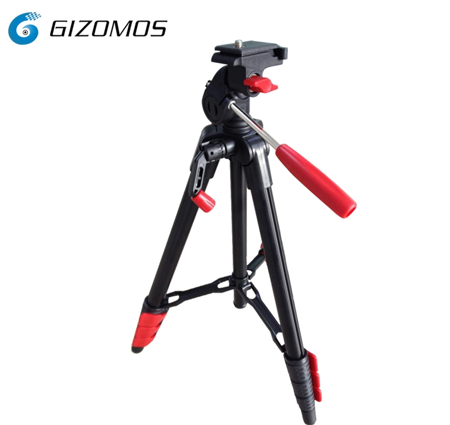 Gizomos best price table top compact travel Aluminum Alloy Tripod for digital cameras and smartphones