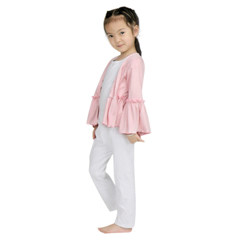 206a1fc72b81 2018 New Girls Spring Coat Kids Thin Pure Color Cotton Flare Sleeve ...