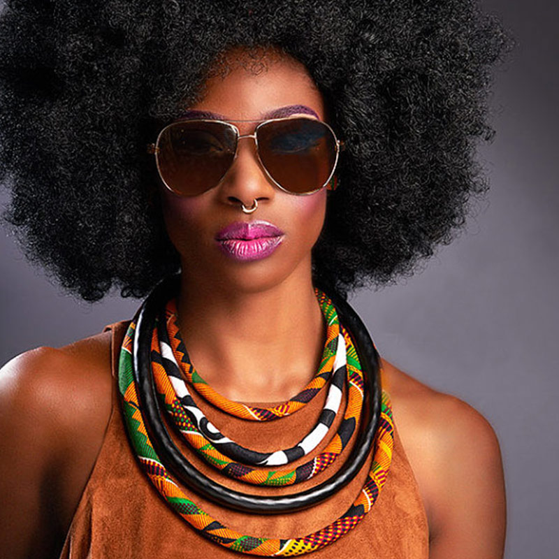 BRW Fabric Print Necklace African Tribal Ankara Handmade Jewelry Necklace Multilayer Bib Necklaces African Necklaces WYB168