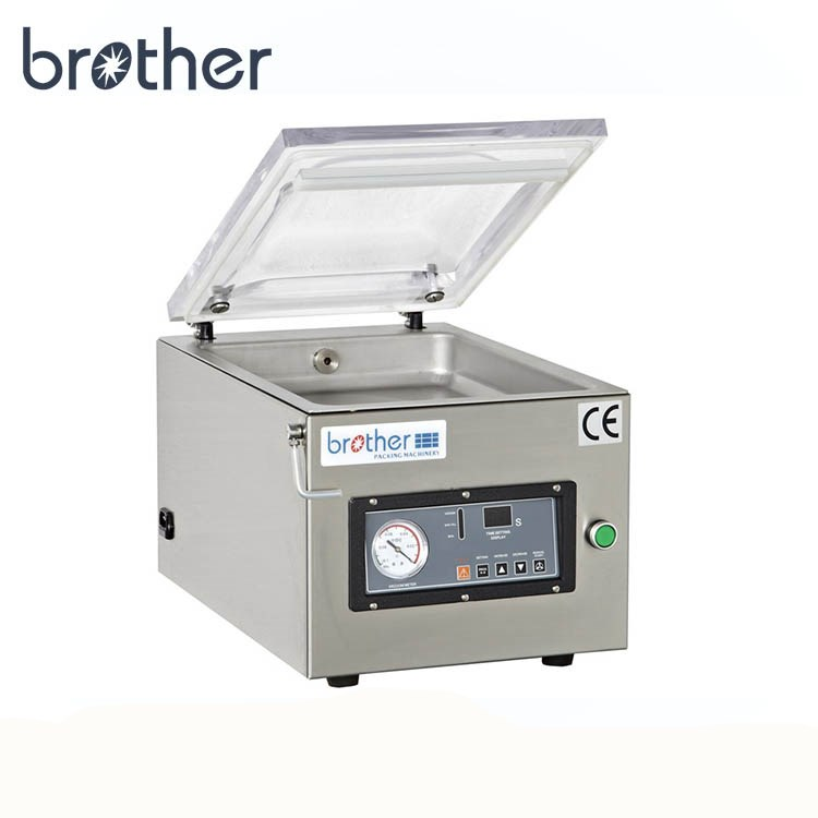WenZhou Brother Semi Automatic Table Top Machine Plastic Bag Bottle Dry Fish Food Nitrogen Vacuum Sealer Packing Machine