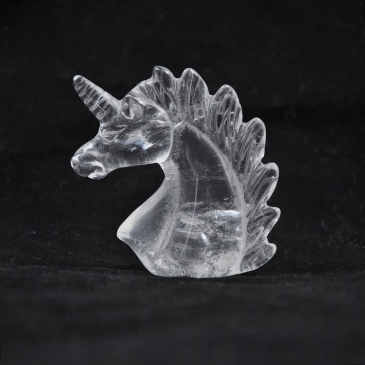 China Big Factory Good Price Carved Crystal unicorns Craft Gemstone Head for Home Decoration