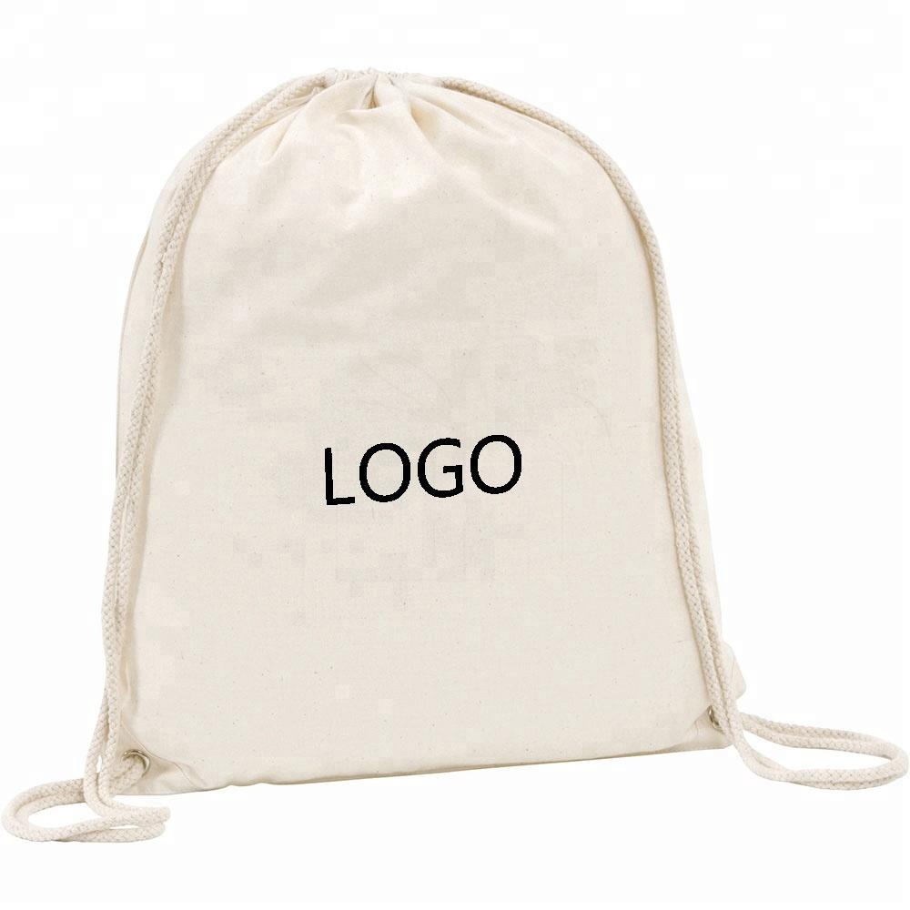 acac60e4d611 Пользовательский логотип печать Персонализированная натуральная ткань  хлопковые Сумки на шнурке