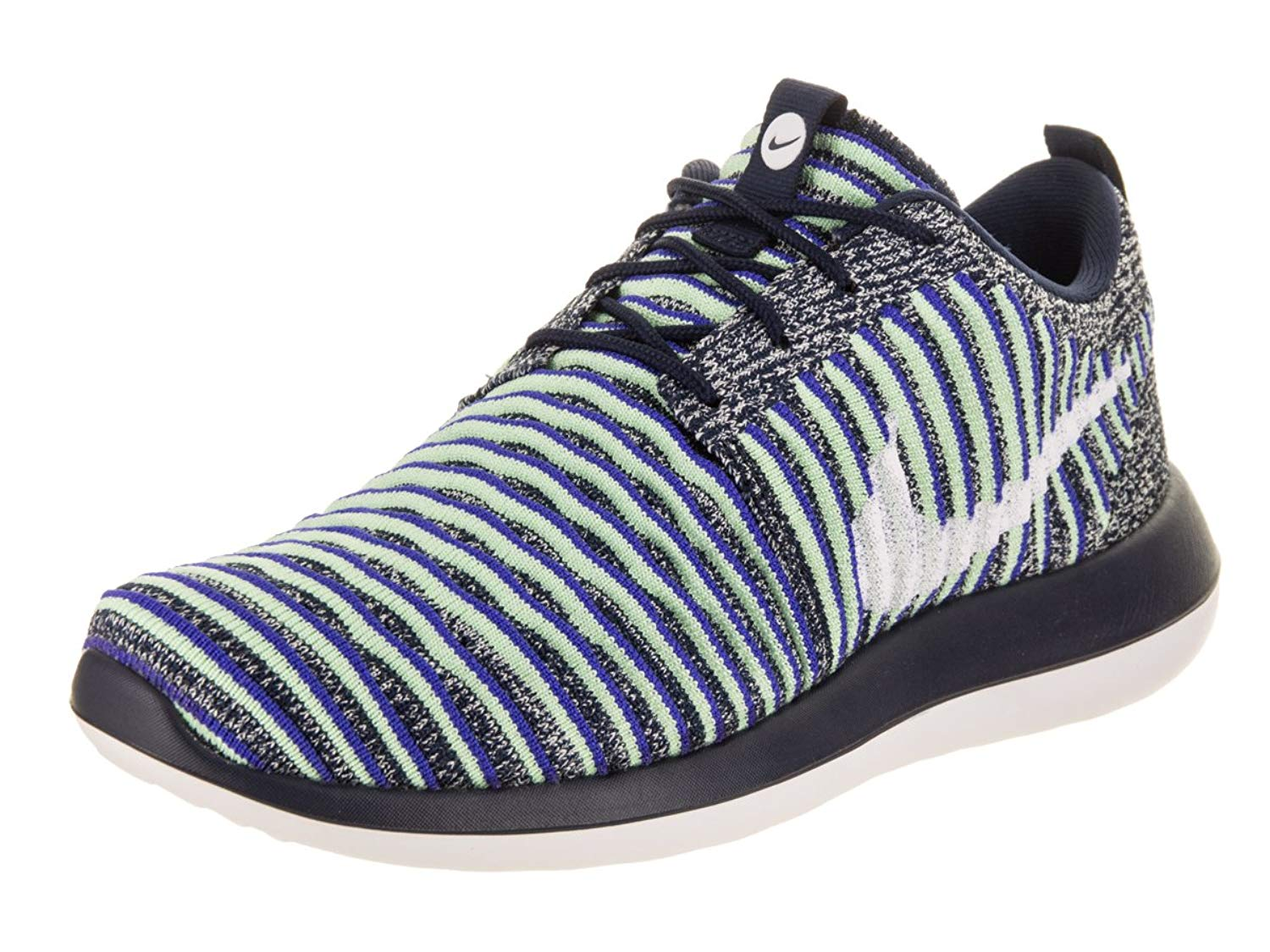 cb681e3a60ab Get Quotations · Nike Womens Roshe Two Flyknit College Navy White White  Binary Blue Running Shoe 8.5