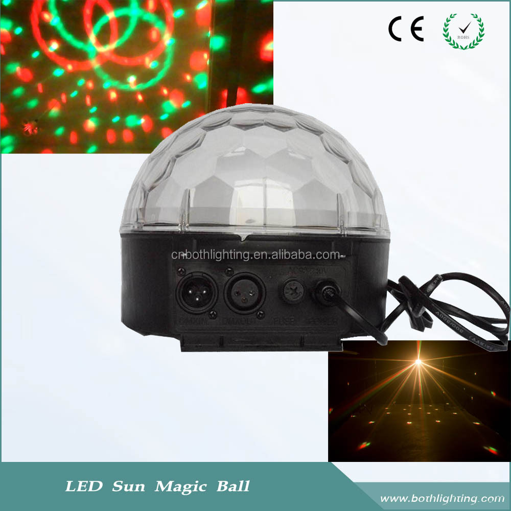 Cheap RGB 3*1W minil LED sun magic mirror ball home party disco lighting 12V