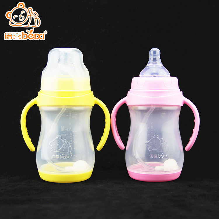 China factory supply top rated bottles for breastfed babies+cute plastic milk bottle+baby feeding bottle 240ml with suck straw