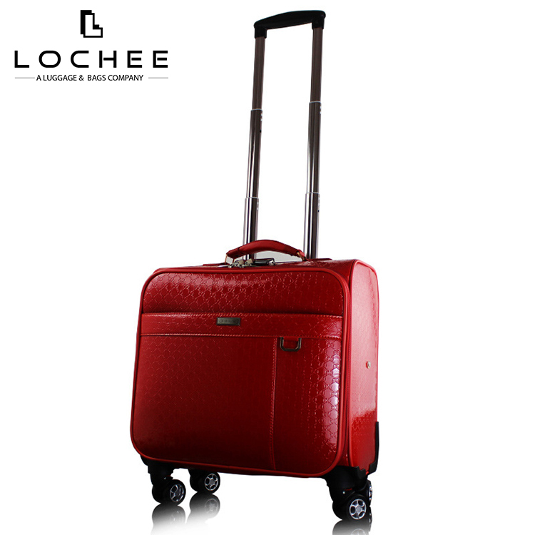 PU Carryon Red Lady Hand Luggage Business Novelty Suitcase