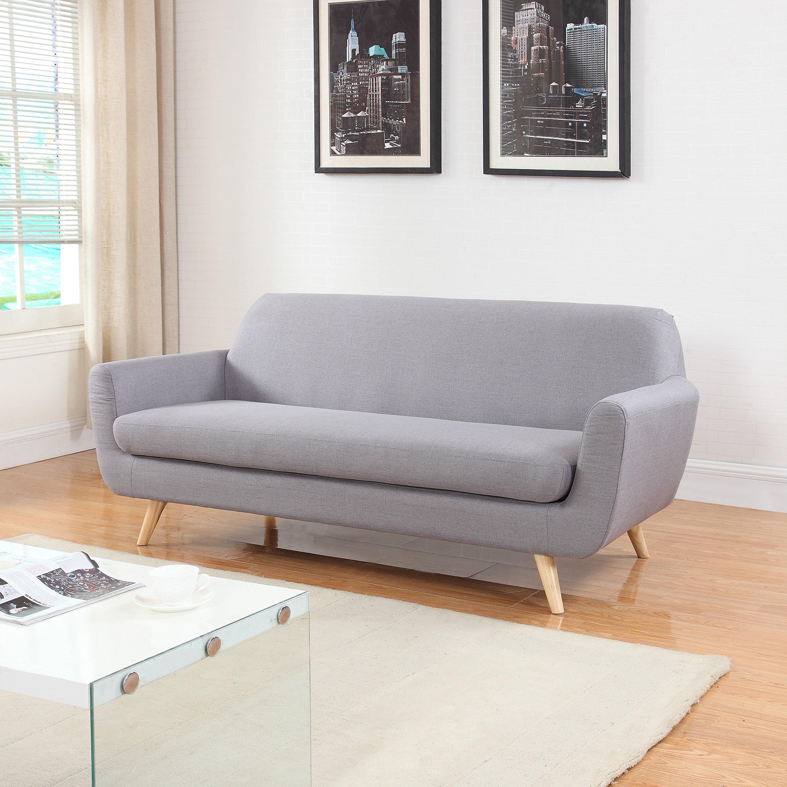 Get Quotations · Mid Century Grey Linen Fabric Sofa And Love Seat (Sofa,  Light Grey)