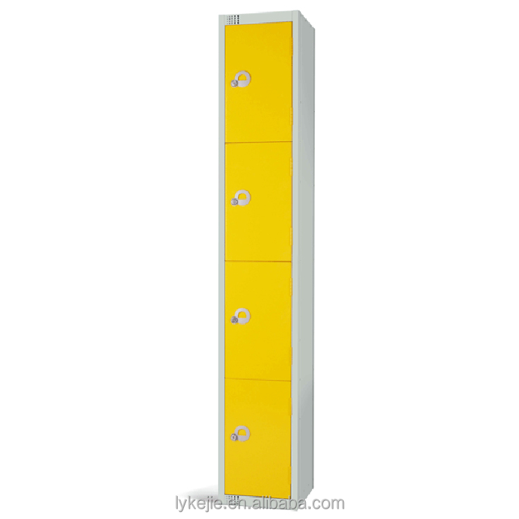 Powder Coating Knock Down Slim 4 Tier Corner Bag Steel Cabinet Metal Smart Storage Cupboard Electronic Locker