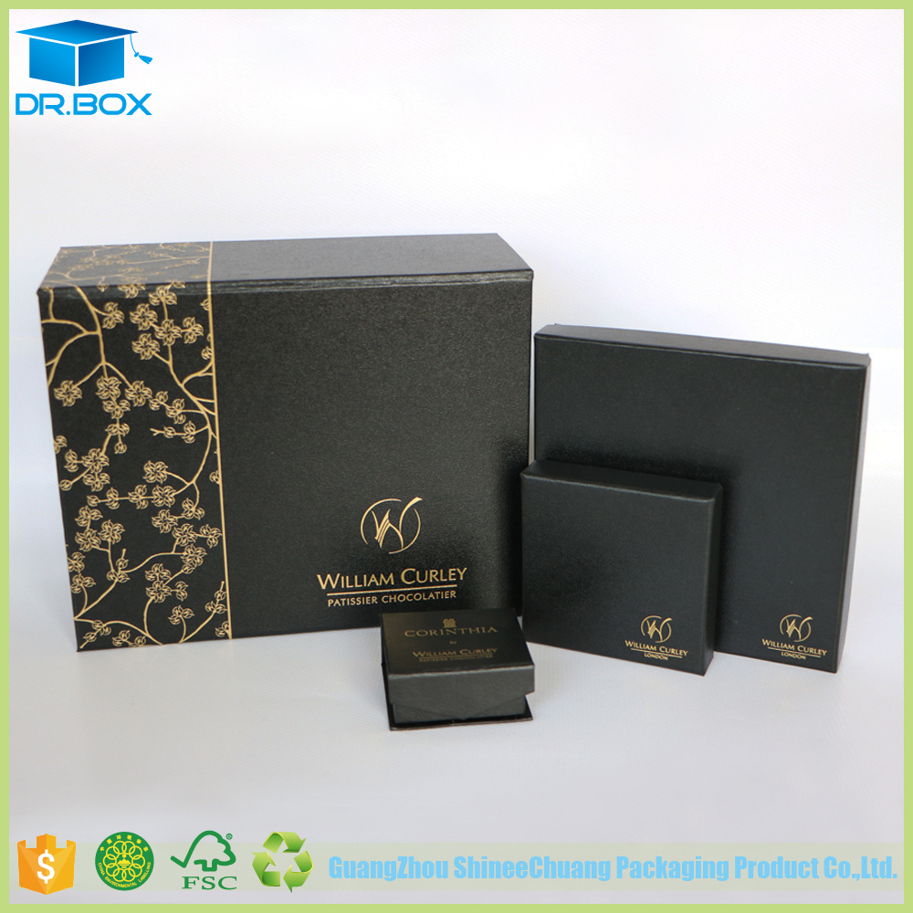 High End Black Special Paper Dubai Chocolate Gift Box