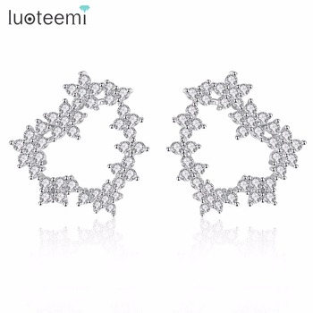 LUOTEEMI Spring Fashion Crystal Flowers Statement Hollow Heart Stud Earrings For Women Girls Valentine Day Gift Brincos Bijoux