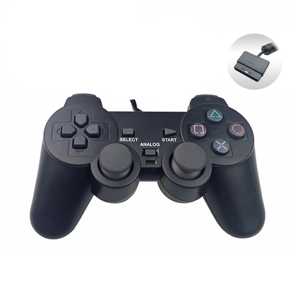 Black Vibration dual analog gamepad for PS2 wired controller