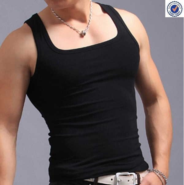Wholesale men's muscle ribbed square cut tank top