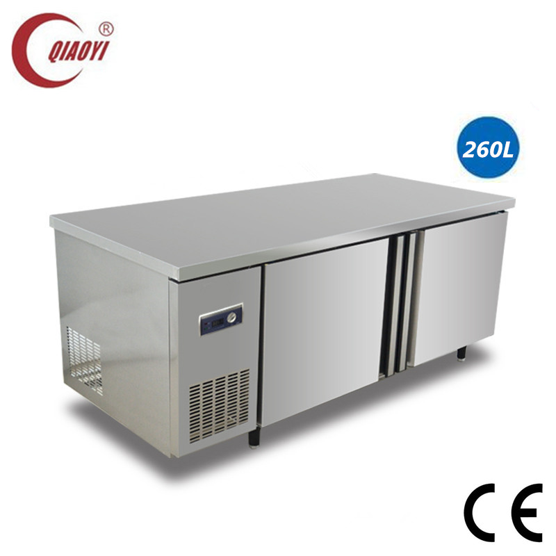 C2 stainless steel restaurant counter top refrigerator freezer 260L