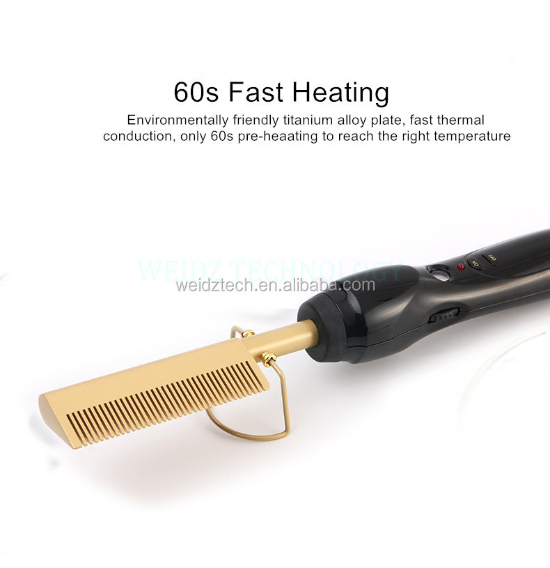 Electric Environmentally Friendly Titanium Alloy Hair Curler Comb Wet and Dry Hair Use Hair Curling Iron Straightener Comb YJ4