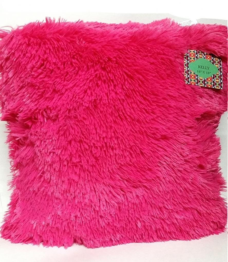 Jenner 16-inch Shaggy Throw Faux Fur Decorative Pillow All Colors Cushion (Hot Pink)