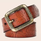 Classic Antique brass buckle belt 3.2cm and 3.6cm genuine leather belt with brass pin buckle