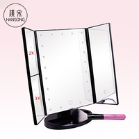 New arrive 3 in 1 Design LED Lighted Vanity Makeup Mirror with Table Lamp