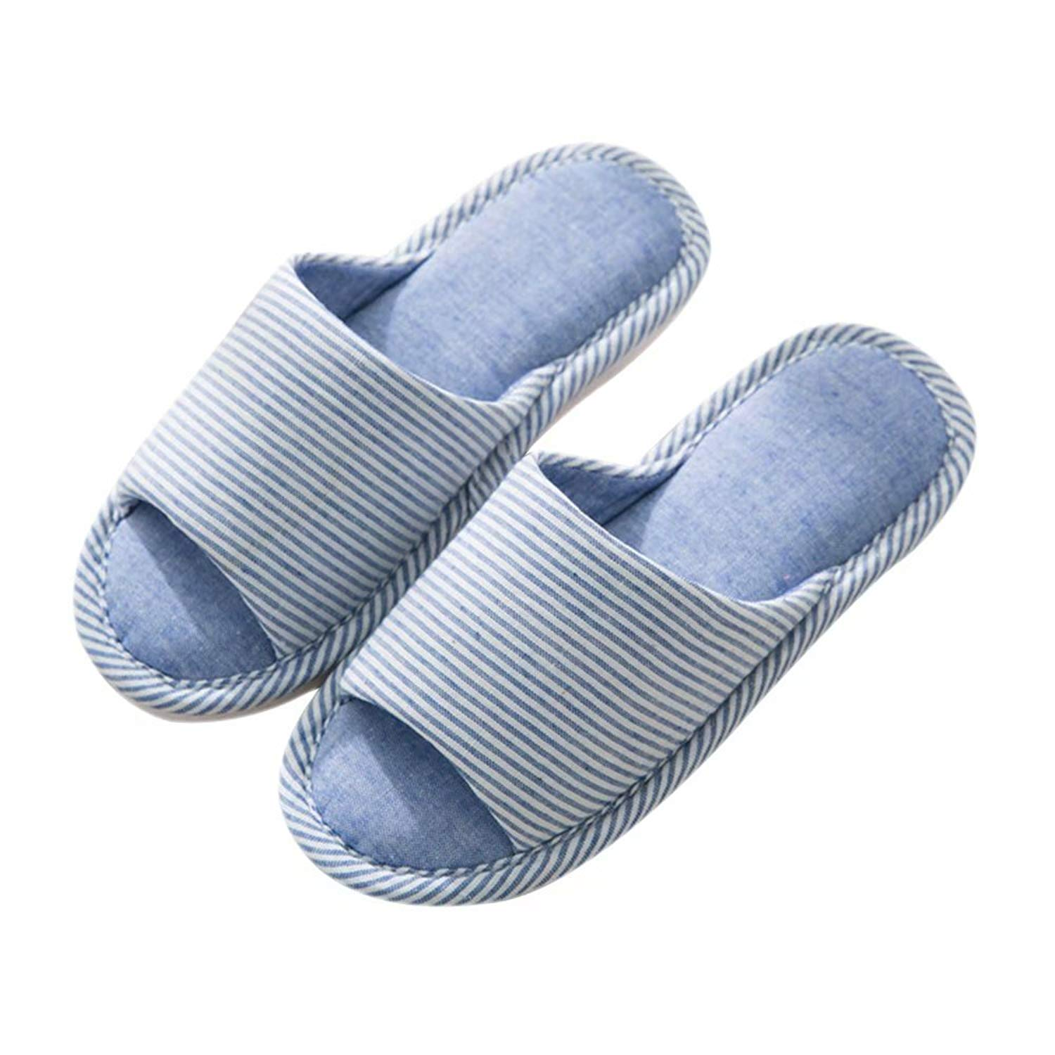e179b118211ca9 Get Quotations · lulujinyu Unisex Memory Foam Cotton Washable Stripe  Slippers for Travel House Hotel Spa Bedroom