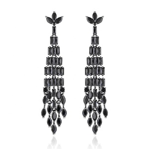 XIUMEIYIZU Retro Fashion Tassel Earrings Black Cubic ZIrconia Stone Hanging Luxury Vintage Drop Earrings