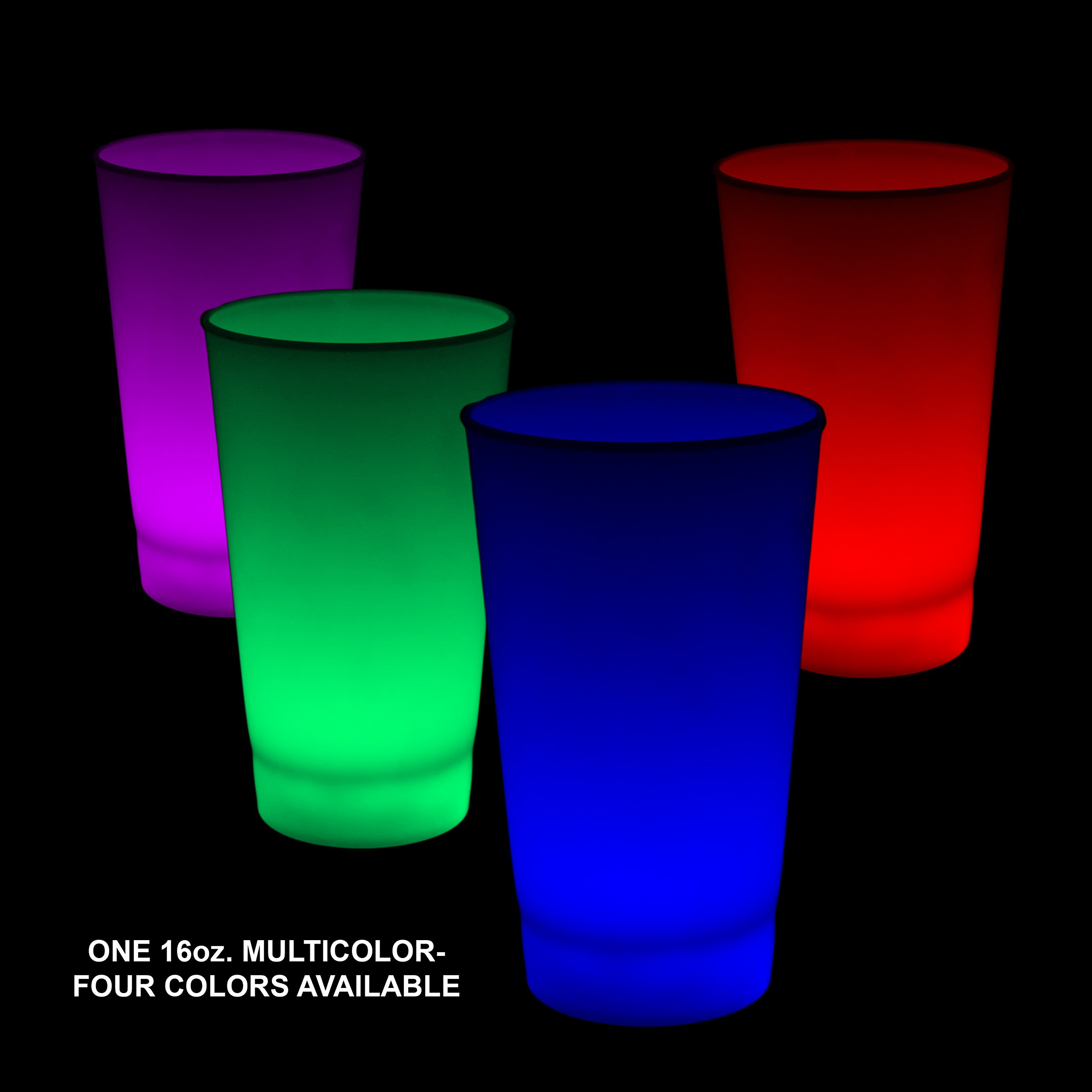 Fun Central I772 1pc 16oz Glow in the Dark LED Light Up Cup, Light Up Party Cups, LED Drinking Cups - for Birthday, Christmas, Halloween, Beach/Disco/Glow in the Dark Party - Multicolor