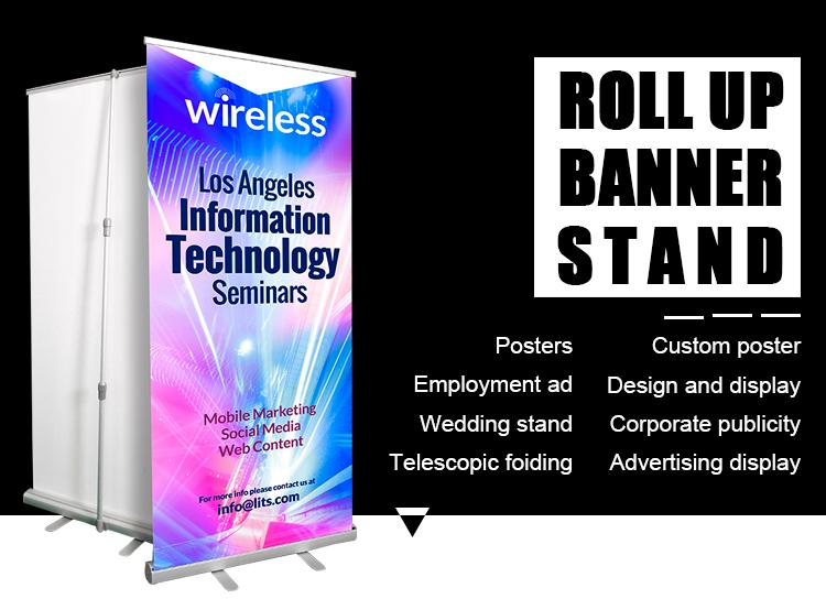 Guangzhou banner fabricante al por mayor de diseño retráctil digital rollo rollup soporte de la bandera