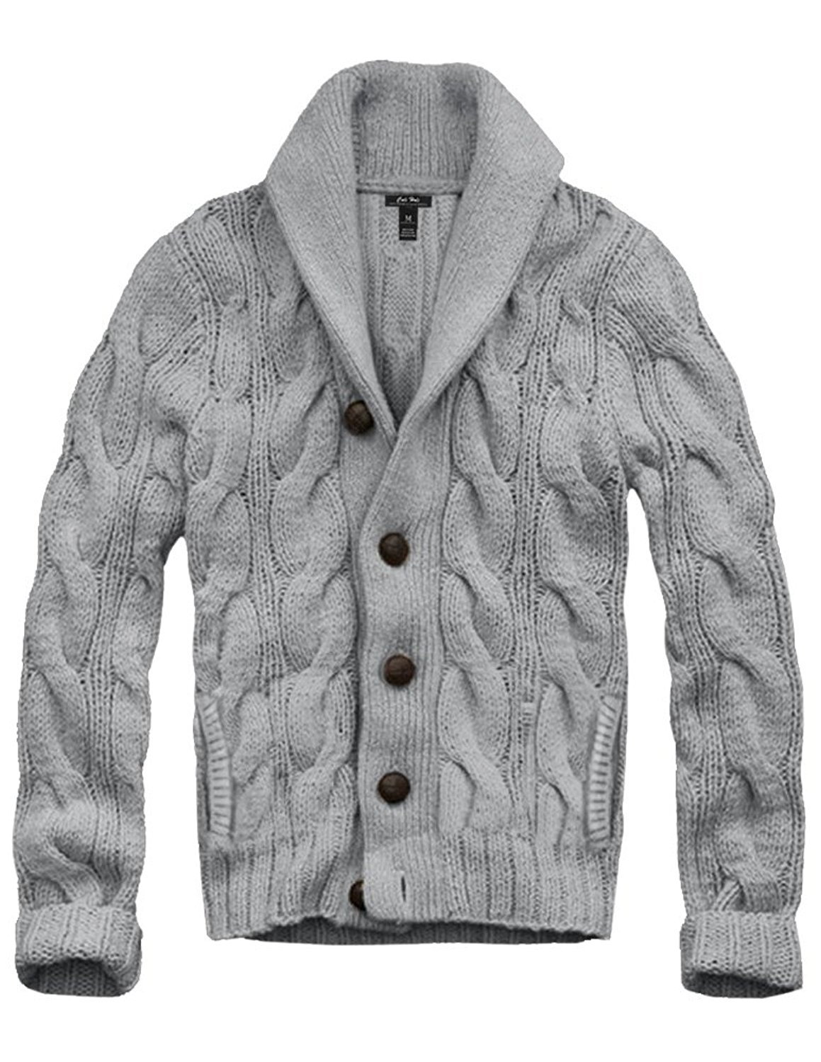 2f45402b541 Get Quotations · Mens Cali Holi Cable Knit Shawl Collar Cardigan Style Sweater  Grey
