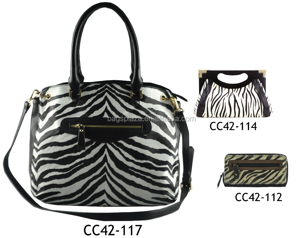 Zebra all over printed handbag leather bags woman matching bags CC42-117