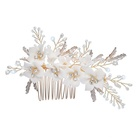 Fashion Gold Leaf Floral Wedding Hair Comb Earring Ceramics Crystal Flower Women Hair Ornament Handmade Bridal Prom Accessories