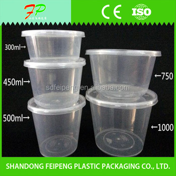 ml Round Shape And Disposable Plastic Take Away Food Container