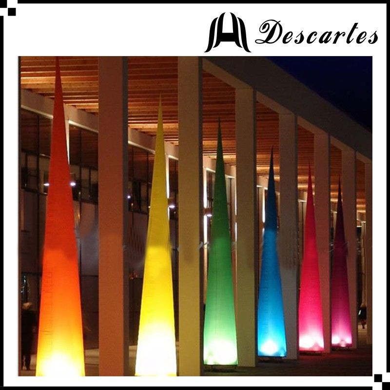 190T oxford cloth led event decoration inflatable cones ,inflatable lighting tower for wedding