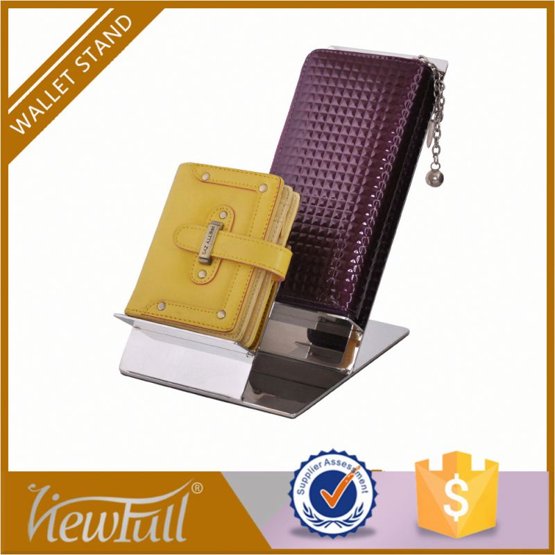 "Most practical 304 stainless steel double hangers height 7.5""wallet display rack with non slip base with charming surface"