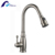 Single hole deck mounted antique brass spray chrome finish kitchen faucet