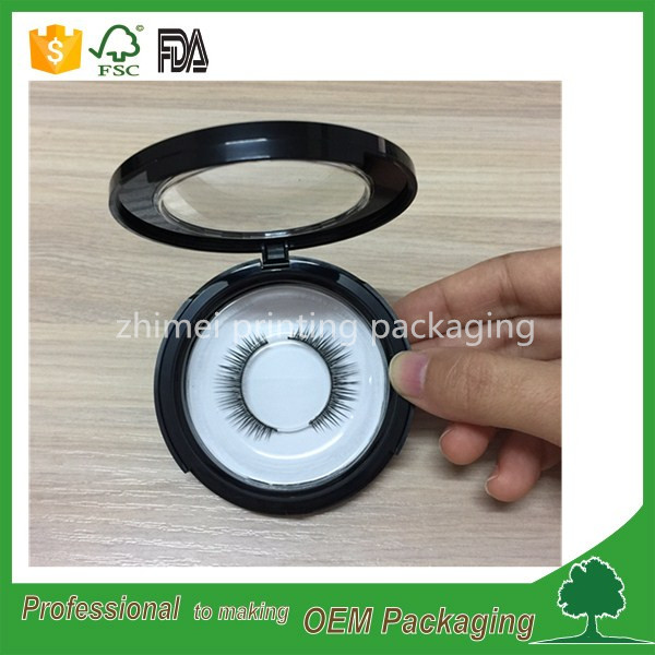 unique design plastic private label eyelash packaging boxes black round eyelash box with transparent lid top quality
