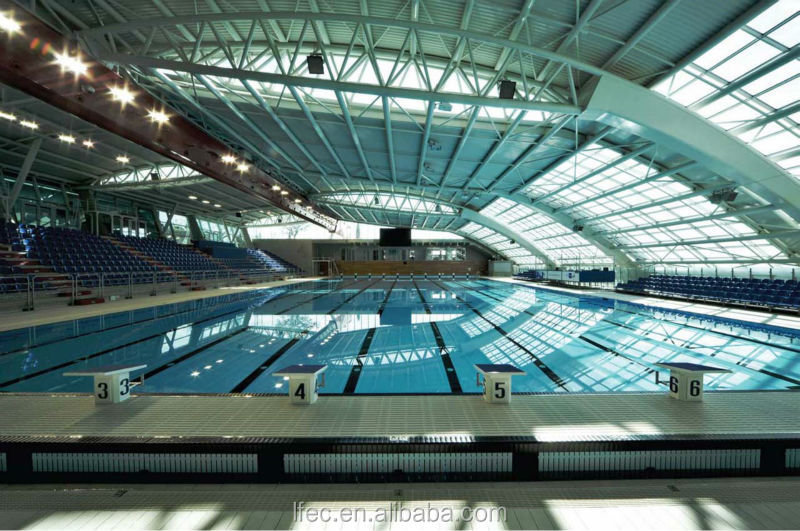 Light Weight Steel Swimming Pool With Clear Skylight Roof Cover
